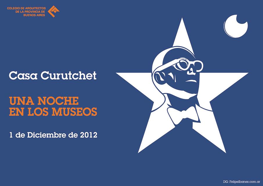 Stencil identitario (+ diseño gráfico) de La Noche de los Museos (Provincia de Buenos Aires) para la Casa Curutchet